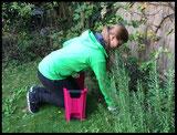 Frau nützt Knie- und Sitzbank für die ergonomische Gartenarbeit