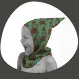 Kindermode für Kleinkinder die lustig aussehen und waschbar sind. Schliessen gut um den Hals und sind deshalb praktisch für den Winter mit dem Skianzug zu tragen.