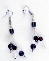 Schmuck Ohrringe mit Amnethist Perlen und Swarovski Perlen