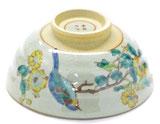 九谷焼『飯碗』小 金糸梅に鳥 小槌付き