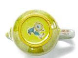 九谷焼【ティーポット・急須】小 黄塗り金糸梅に鳥【裏絵】