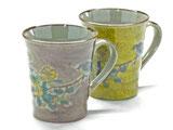 九谷焼 ペアマグカップ 金糸梅に鳥 紫&黄塗り 裏絵