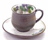 九谷焼『カップ&ソーサー』紫椿