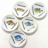 九谷焼 3寸 花型小皿揃え 魚紋