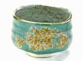九谷焼 抹茶碗 しだれ桜 緑塗り