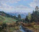 Landschaft mit Berner Alpen