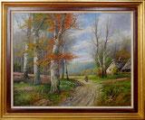 Herbstwald mit Figur und Haus