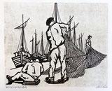 Fischer mit Netz