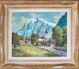 Wetterhorn mit Kirche Grindelwald
