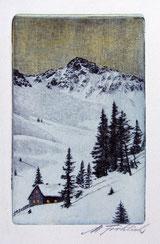 Berglandschaft Winterabend