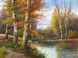 Herbstwald und Wasser