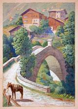 Steinbogenbrücke und Maulesel