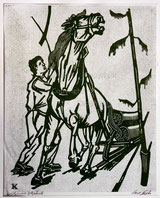 Holzfäller mit Pferdeschlitten