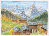 Alphütten mit Obergabelhorn und Zinalrothorn,VS