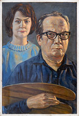 Nr. 3007 unsigniertes Selbstportrait? Der Maler (vielleicht ist es A.W. Diggelmann) wird beobachtet von dem stolzen Blick seiner Frau
