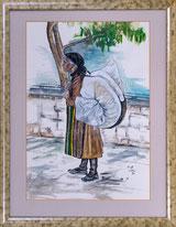 Frau mit Wäschebündel