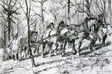 Holzfäller mit Pferden,Anno 1883