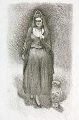 Frau mit Bodenvase