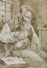 Grossvater mit Mostkrug