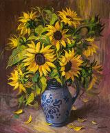 Sonnenblumen im Steingut-Krug