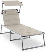 blumfeldt Amalfi Creamy Beige Liegestuhl - Sonnenliege, Gartenliege mit 5-stufig Verstellbarer Rückenlehne, Outdoor Edition,