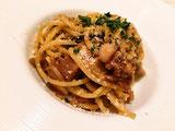 きのことひき肉のラグースパゲッティ