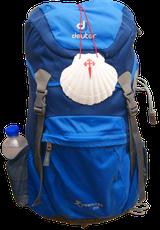 Rucksack mit Pilgermuschel - die Muschel ist HIER bei uns erhältlich!