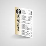 Cartas Menú simples impresas a 2 caras todo color más laminado.