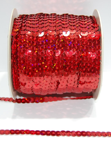Paljettinauha joustava 6mm holo punainen
