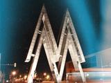 Nachtschwärmer-Linie Segway Tour, Stadtrundfahrt in Leipzig, Wahrzeichen der Leipziger Messe bei Nacht