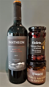 Pantheon Bio-Rotwein aus Griechenland mit Feinkost