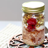 Chocolate Strawberry Overnight Oats with Pistachio Topping