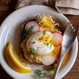 Egg-and-Veggie-Topped Hummus Toast with Radish and Dill