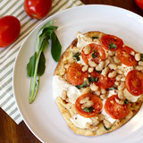 Tomato and White Bean Naan Pizza