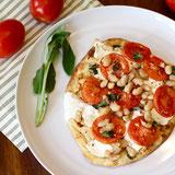 Tomato and White Bean Naan Pizza