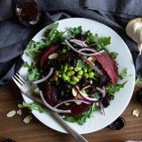 Vegan Mediterranean Prune Salad with Beets, Almonds, and Edamame