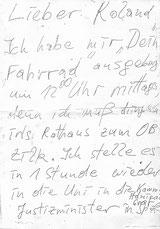 Diesen Zettel fand ich damals bei meiner Tür am Institut vor.
