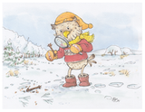 Der Steinkauz Fabian ist mit dem Fernglas in den Händen im Wald unterwegs. Um ihn herum sind viele Bäume mit verschiedenen Waldtieren und drei Kindern, die diese entdecken und dort spielen.