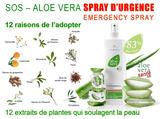 votre spray de premier secours multiples pour toutes les agressions de la peau et un soin capillaires, avec 83 % de Gel pur d'Aloé Vera et des essences naturelles d'herbes soigneusement sélectionnées