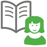 Illustration: Adretterei; Frau mit Buch
