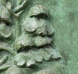 Bronze patine verte - Orchidée (Orchis bouffon) - détails - sculpture Dominique Rautureau