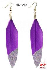 Boucles d'oreilles plumes violettes et paillettes