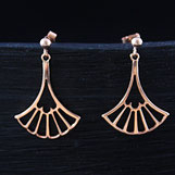 Boucles oreilles pendantes Art déco faites main en Argent avec Dorure Or rose avec ajourage