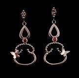 Boucles d'oreilles Les Marquises avec papillons, faites à la main en France, en Argent et zirconium rouges