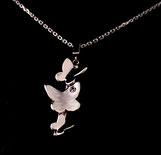 Pendentif pour femme motif Papillons, fait à la main en argent 925 et zirconium sur chaîne maille forçat diamantée