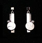Boucles d'oreilles pendantes en argent et zirconium, faites à la main, avec incrustation de dentelle
