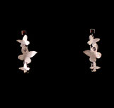 Boucles d'oreilles pendantes pour femme, motif Papillons, faites à la main en France en argent 925 et zirconium