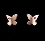 Boucles d'oreilles pour femme, motif Papillons, faites à la main en France en argent 925 et zirconiums rouges