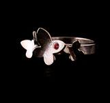 Bague pour femme faite main en argent 925 et zirconium rouge, motif Papillons