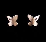 Boucles d'oreilles pour femme, motif Papillons, faites à la main en France en argent 925 et zirconium